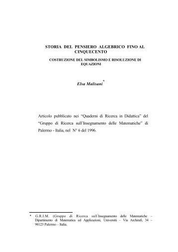 STORIA DEL PENSIERO ALGEBRICO FINO AL CINQUECENTO ...