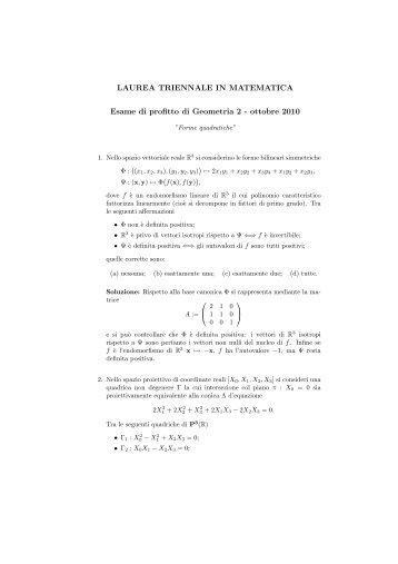Forme quadratiche - Dipartimento di Matematica e Informatica