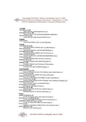 Proceedings CIEAEM 58 –SRNI, Czech Republic, July 9-15, 2006 ...