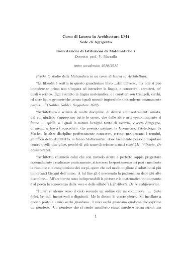 Corso di Laurea in Architettura LM4 Sede di Agrigento Esercitazioni ...