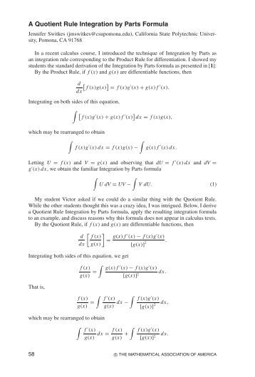 Integration by Parts The Leibniz rule for differentiation ...