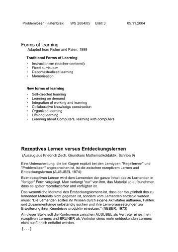 Rezeptives Lernen versus Entdeckungslernen - Mathematik