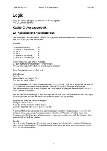 Kapitel 2 Aussagenlogik - Mathematik