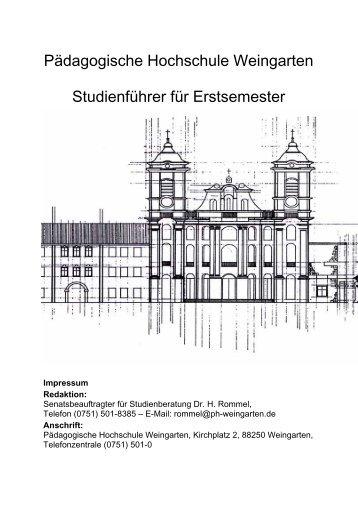 Studienführer für Erstsemester - Mathematik - Pädagogische ...