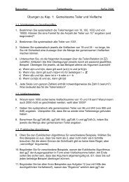 Übungen zu Kap. 1: Gemeinsame Teiler und Vielfache - Mathematik