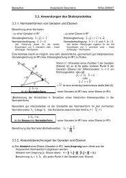 3.3. Anwendungen des Skalarproduktes 3.3.1 ... - Mathematik