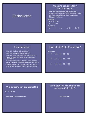 Zahlenketten - Mathematik