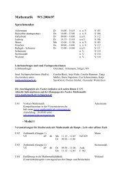 Vorlesungsverzeichnis - Mathematik