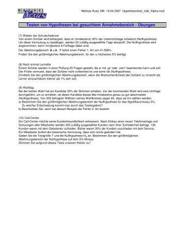 Testen von Hypothesen bei gesuchtem ... - MatheNexus