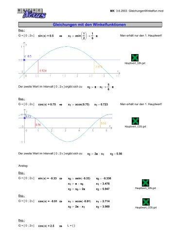 Gleichungen mit den Winkelfunktionen - MatheNexus