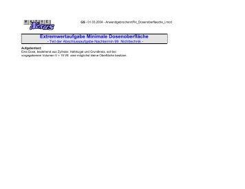 Extremwertaufgabe Minimale Dosenoberfläche - MatheNexus