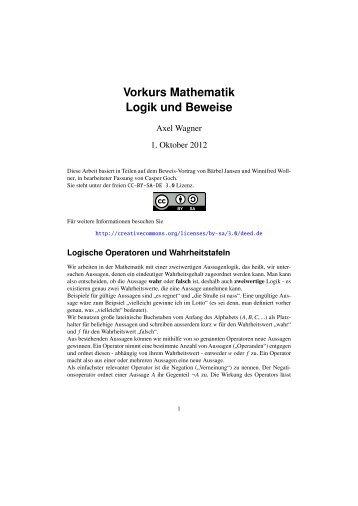 Vorkurs Mathematik - Logik und Beweise - Fachschaft MathPhys an ...