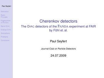 Cherenkov detectors - Fachschaft MathPhys an der Uni Heidelberg