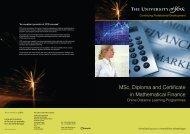 Online MSc in Mathematical Finance - Electronic Brochure