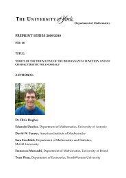 PREPRINT SERIES 2009/2010 - Department of Mathematics ...