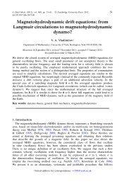 Magnetohydrodynamic drift equations - Department of Mathematics ...