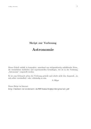 Astronomie in der Schule - Mathematisch-Geographische Fakultät