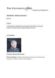 PREPRINT SERIES 2010/2011 - Department of Mathematics ...
