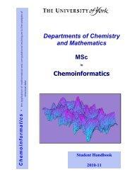 Departments of Chemistry and Mathematics MSc Chemoinformatics