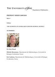 No. 9 - Department of Mathematics - University of York