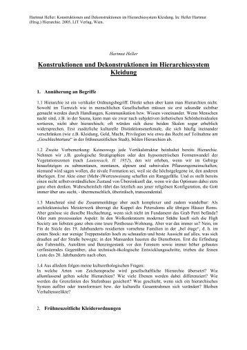 Konstruktionen und Dekonstruktionen im Hierarchiesystem Kleidung