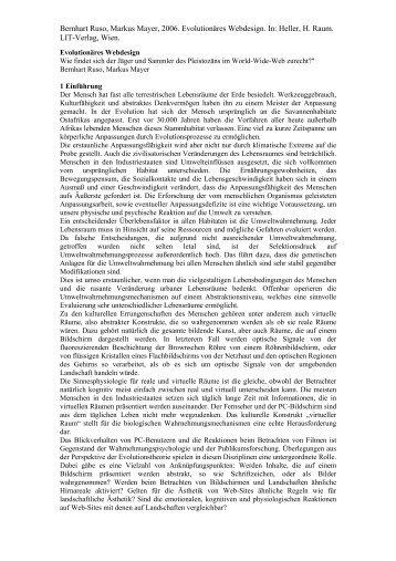 Bernhart Ruso, Markus Mayer, 2006. Evolutionäres Webdesign. In ...