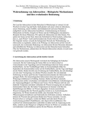 Wahrnehmung von Jahreszeiten – Biologische Mechanismen und ...