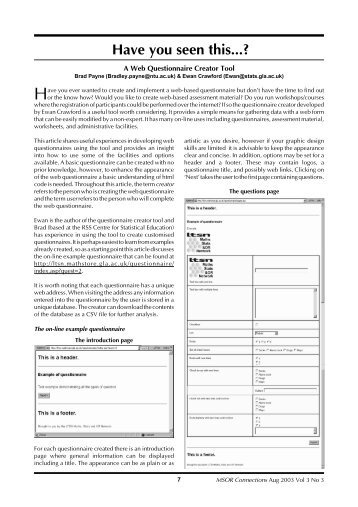 questionnaire for web cleaning systems