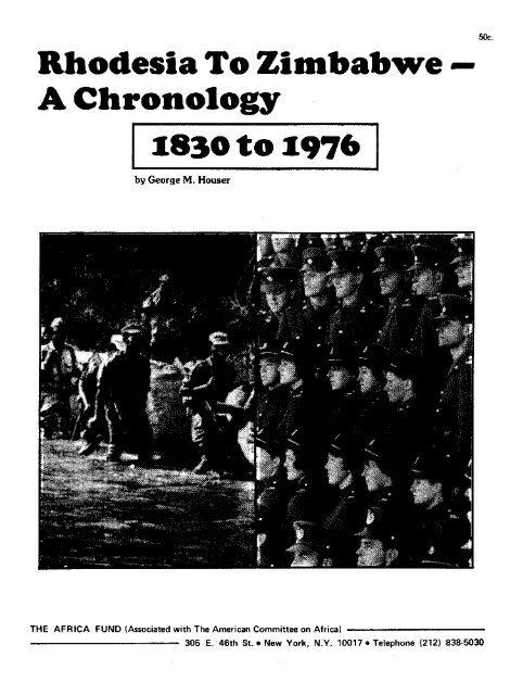 Rhodesia To Zimbabwe A Chronology - KORA