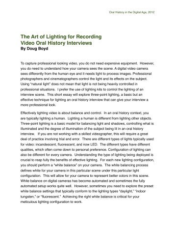 The Art of Lighting for Recording Video Oral History Interviews