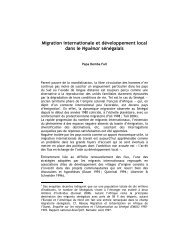 Migration internationale et développement local dans le ... - Matrix