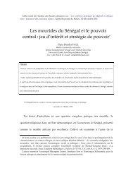 Les mourides du Sénégal et le pouvoir central : jeu d'intérêt ... - Matrix