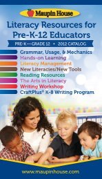 literacy resources for Pre-K-12 educators - Maupin House Publishing