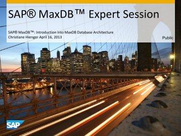 Script (.pdf file, 2 MB) - SAP MaxDB