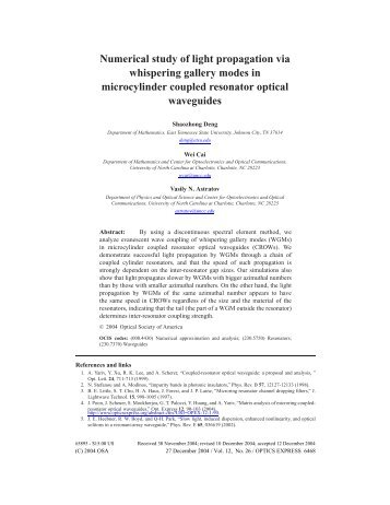 Numerical study of light propagation via whispering gallery modes in ...