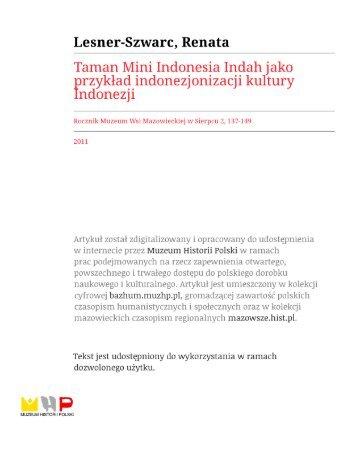 Taman Mini Indonesia Indah jako przykład indonezjonizacji kultur ...