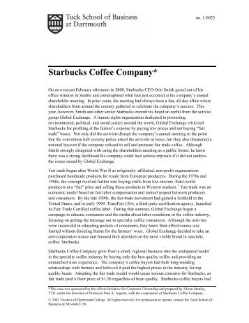 Starbucks Coffee Company* - Tuck School of Business - Dartmouth ...