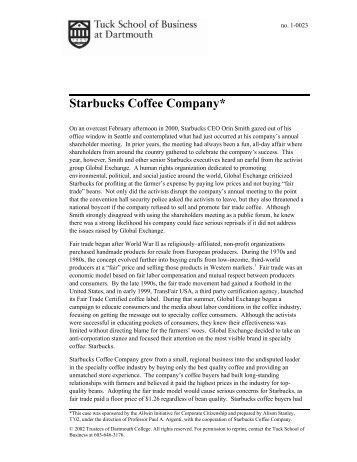 Starbucks Coffee Company* - Tuck School of Business - Dartmouth ...
