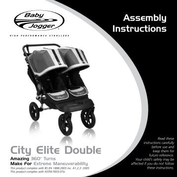 Baby Jogger City Elite Double User Manual