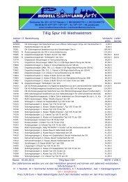 Tillig Spur H0~ Preisliste