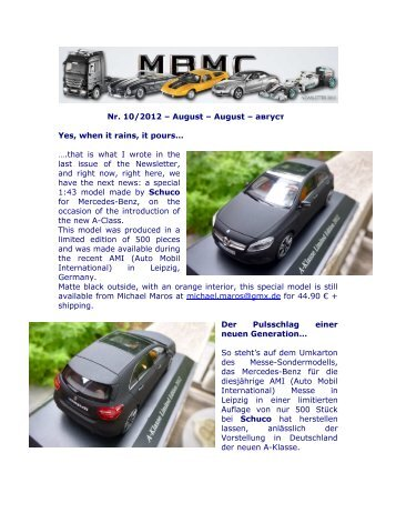 Newsletter 10 2012 - Mercedes Benz Modellauto Club