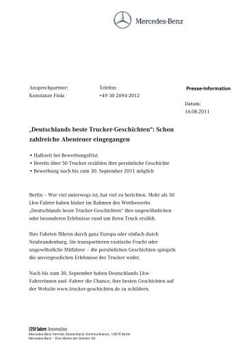 deutschlands beste trucker geschichten mercedes benz vertrieb - Mercedes Benz Bewerbung