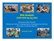 Risk Analysis - Mortenson Center - University of Colorado Boulder