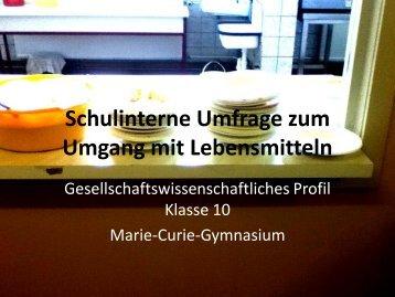 (pdf) lebensmittel_umfrage - Marie-Curie-Gymnasium Dresden