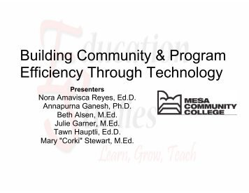 Building Community & Program Efficiency Through Technology