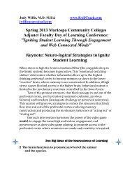 Handout from Keynote Speaker, Dr. Judy Willis - Maricopa Center ...
