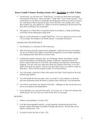 Freshman Summer Reading Assignment – HONORS ENGLISH 9
