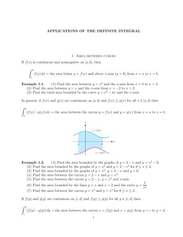 APPLICATIONS OF THE DEFINITE INTEGRAL 1. Area ... - MCS155