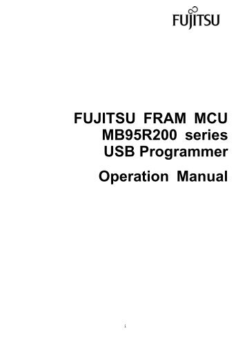 FUJITSU FLASH MCU Programmer for F MC-8L Specifications