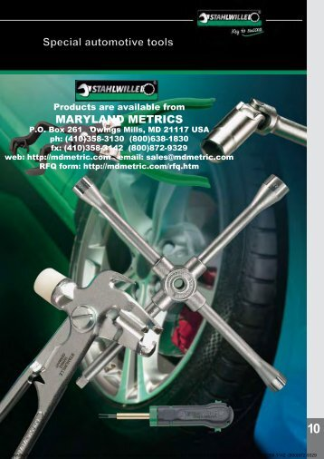 1 Special automotive tools MARYLAND METRICS